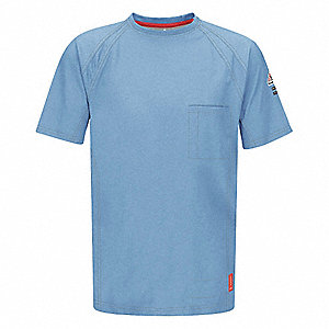 "Blue Flame-Resistant Polo Shirt, Size: L, Fits Chest Size: 41"" to 45"", 8.2 cal./cm2 ATPV Rating"