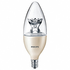 2.7 Watts LED Lamp, B12, Candelabra Screw (E12), 180 Lumens, 2200-2700K Bulb Color Temp.