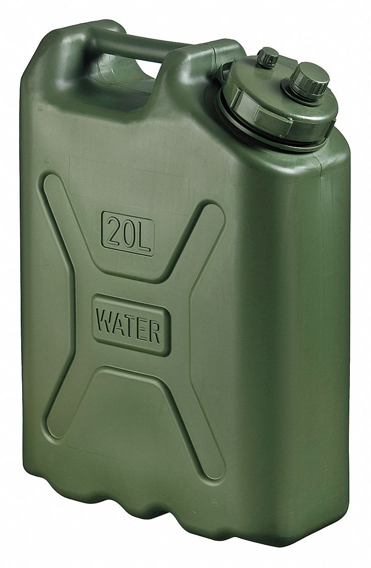 5 gal Water Container, Green High Density Polyethylene, 1 EA