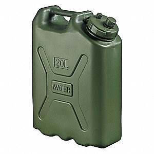 5 gal. Water Container, Green High Density Polyethylene, 1 EA