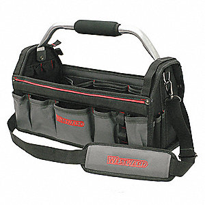 "11-Pocket Polyester General Purpose Tool Tote, 10-1/4""H x 18-3/4""W x 8-1/2""D, Black"