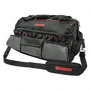 Wide-Mouth Tool Bag,11 Pockets,22x12-1/2