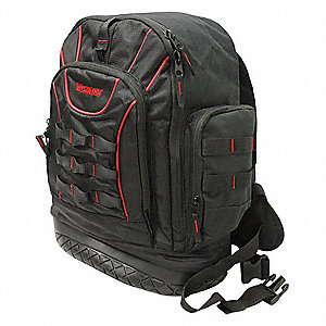"22-Pocket Polyester General Purpose Tool Backpack, 19""H x 17""W x 6-3/4""D, Black"