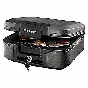 "15-2/5"" x 14-1/3"" x 6-3/5"" Fire Safe, Gray; Holds Paper, Valuables, USB Drives, CD's, DVD's and Port"