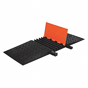 Hinged 5-Channel Cable Protector, Black, Orange, 18""