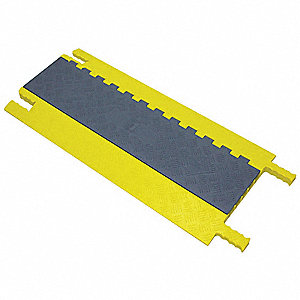 Hinged 5-Channel Cable Protector, Gray, Yellow, 36""