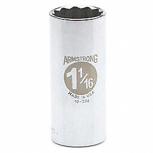 "1-1/16"" Steel Deep Socket with 1/2"" Drive Size and Chrome Finish"
