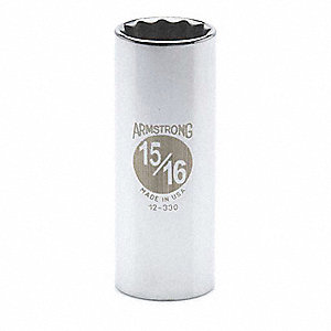 "15/16"" Steel Deep Socket with 1/2"" Drive Size and Chrome Finish"