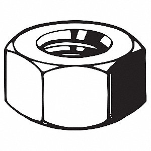 "1/2""-13 Hex Nut - Heavy, Plain Finish, Grade DH Steel, Right Hand, ASME B18.6.3, PK25"