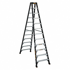 12 ft. 300 lb. Load Capacity Fiberglass Twin Stepladder