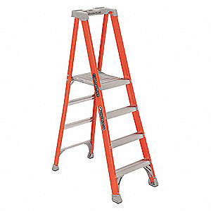 "Fiberglass Platform Stepladder, 6 ft. 3"" Ladder Height, 3 ft. 9"" Platform Height, 300 lb."