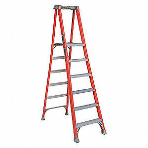 "Fiberglass Platform Stepladder, 8 ft. 1"" Ladder Height, 5 ft. 8"" Platform Height, 300 lb."