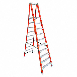 "Fiberglass Platform Stepladder, 11 ft. 11"" Ladder Height, 9 ft. 6"" Platform Height, 300 lb."