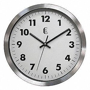 "10"" Wall Mount Round Analog Quartz Clock, Silver"