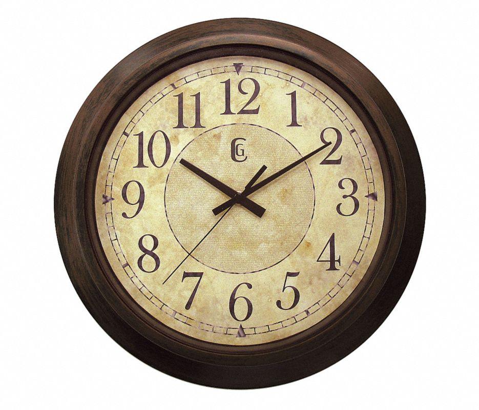 Analog Clock,14 In,Brown