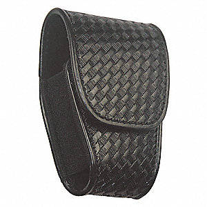 Handcuff Pouch, Hook-and-Loop, Leather, Black