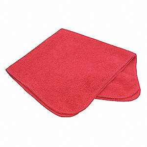 "Microfiber Cloth,12"" x 12"",Red,PK12"