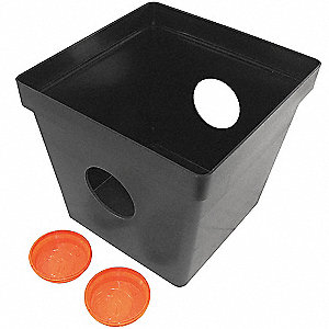 "14-1/2"" x 16"" Two Hole Drain Sump w/o Grate, Black"