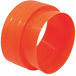 "Plastic Orange Corrugated Pipe Connector, 2""or 3"" Schedule 40 Pipe, or 4"" SDR35 pipe Pipe Dia., Push"