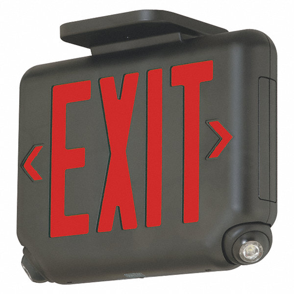 Hubbell lighting dual lite 1 or 2 face led exit sign with emergency lights black plastic for Exterior emergency exit lights