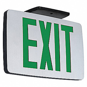 LED Exit Sign with Battery Backup, Black Housing Color, Cast Aluminum Housing Material