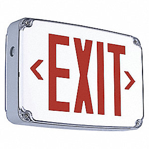 1 Face LED Exit Sign, Gray Plastic Housing, Red Letter Color