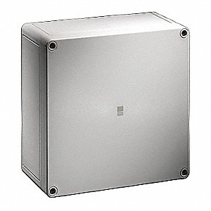 "7""H x 10""W x 4""D Non-Metallic Enclosure, Light Gray, Knockouts: No, Screws Closure Method"