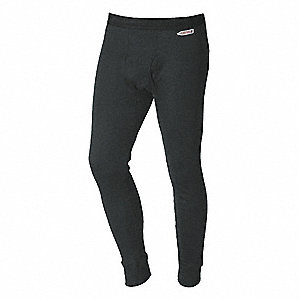Gray Flame-Resistant Base Layer Pants, Carbon Aramid Blend, Fits Waist Size: M, 10.0 cal./cm2 ATPV R