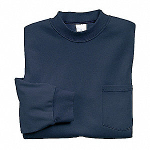 "Navy Flame-Resistant Crewneck Shirt, Size: 3XL, Fits Chest Size: 56"" to 58"", 8.9 cal./cm2 ATPV Ratin"