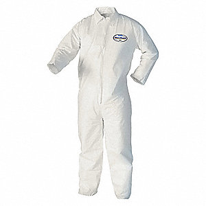 Disposable Coverall with Open Material, White, L