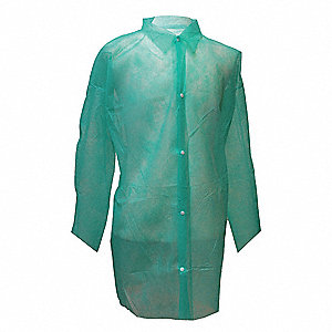Green Polypropylene Disposable Lab Coat, Size: L