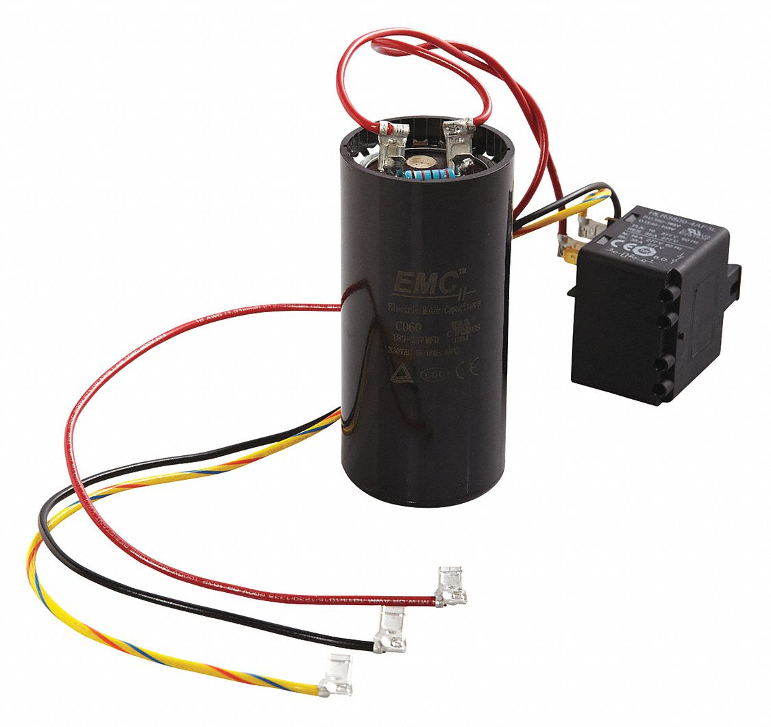 Hard Start Kit,  Potential Relay, Start Capacitor,  208 to 240 Voltage,  35 Contact Rating (Amps)