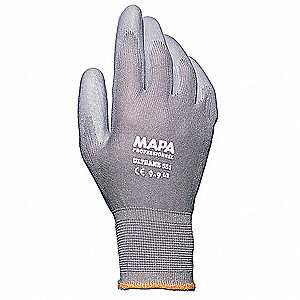 GLOVES POLYURETHANE-GRAY SZ 6