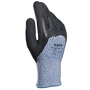 Nitrile Cut Resistant Gloves, ANSI/ISEA Cut Level 5 Lining, Black, Blue, 9, PR 1