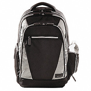 "1680D Ballistic Nylon Laptop Backpack Fits Up to 16.4"" Laptop, Black/Platinum"