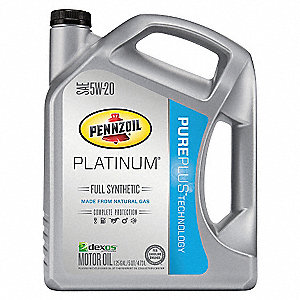 Full Synthetic Engine Oil, 5 qt. Bottle, SAE Grade: 5W-20, Amber/Brown