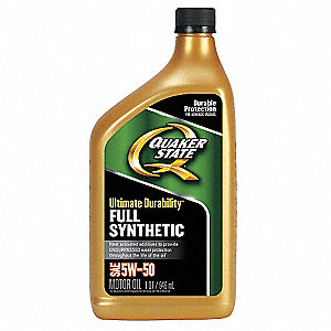 Full Synthetic Engine Oil, 1 qt. Bottle, SAE Grade: 5W-50, Amber/Brown