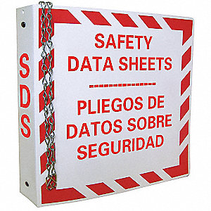 "Safety Data Sheets Binder, Polyethylene, 11-5/8"" x 11-3/4"", 1 EA"