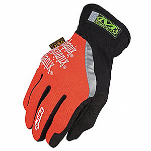 High-Visibility Mechanics Gloves, Synthetic Leather Palm Material, High Visibility Orange, 2XL, PR 1