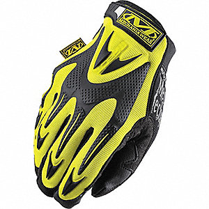 Anti-Vibration Gloves, Synthetic Leather Palm Material, Hi-Visibility Yellow, L, PR 1
