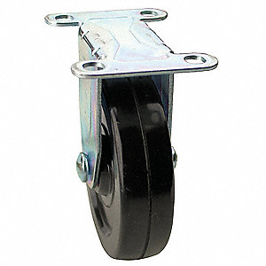 Rigid Plate Caster,Rubber,5 in., 200 lb.