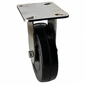 Rigid Plate Caster,Rubber,5 in., 240 lb.