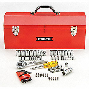 "3/8"", 1/4""Drive SAE/Metric Chrome Socket Wrench Set, Number of Pieces: 65"