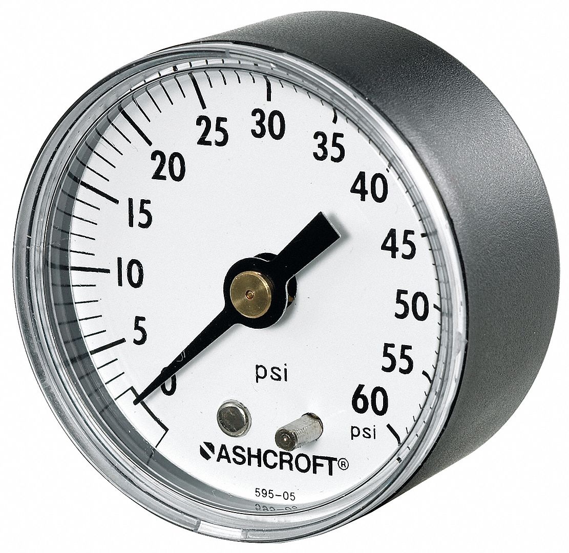Pressure Gauge,  0 to 160 psi Range,  1/4 in MNPT,  +/-3-2-3% Gauge Accuracy