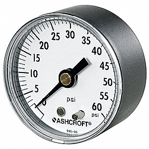 "2"" General Purpose Pressure Gauge, 0 to 600 psi"