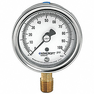 "2-1/2"" General Purpose Pressure Gauge, 0 to 60 psi"