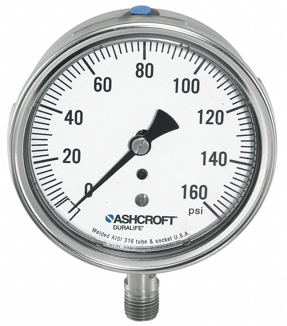 Pressure Gauge,  0 to 100 psi Range,  1/4 in MNPT,  +/-1.00% Gauge Accuracy