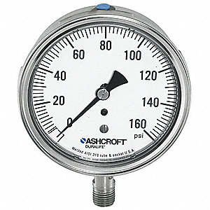 "3-1/2"" General Purpose Vacuum Gauge, 30 to 0 In. Hg"
