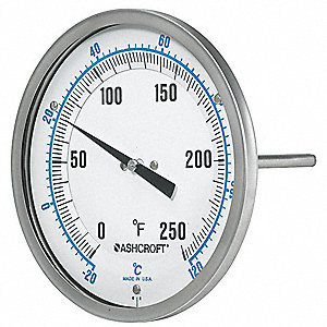 Dial Thermometer, 50 to 500 deg F