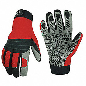 Box Handling Mechanics Gloves, Synthetic Leather/Silicone Dots Palm Material, Black/Red, 2XL, PR 1